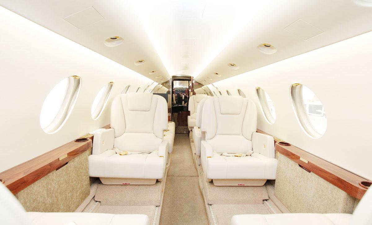 The interior of a Dassault Falcon 50